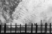 Clouds, bridge and bike.