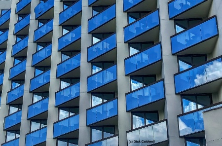 Blue building.  Image by Dick Caldwell