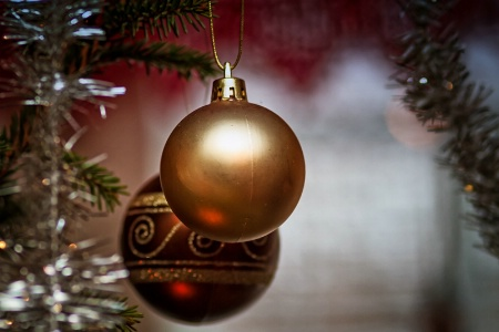 Two Baubles On A Christmas Tree