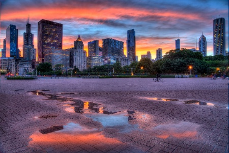 Chicago Sunset Reflections