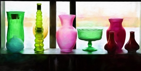 Glass Vases On The Sill