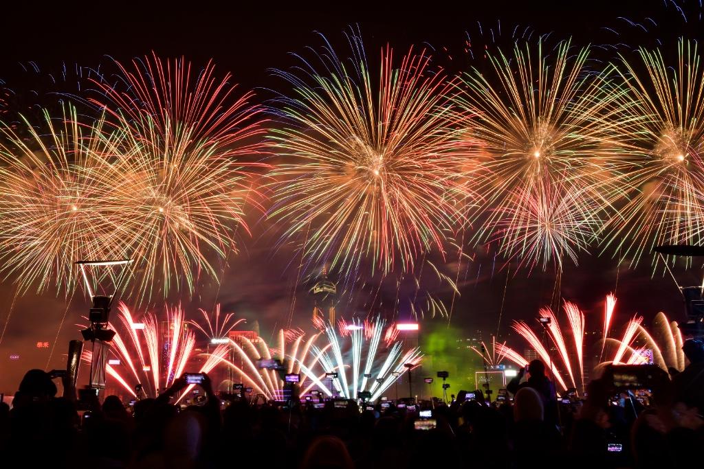 New Year fireworks in Hongkong