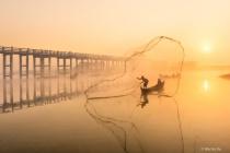 Fisherman at U Bein sunrise.