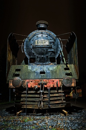 Old Steam Engine By Night