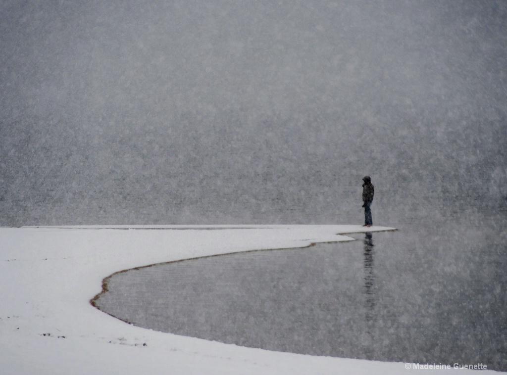 Alone on the snowy beach
