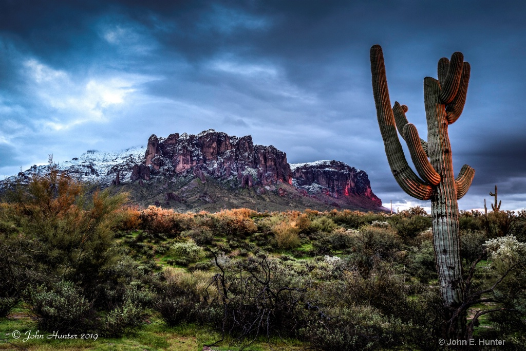 Snow on the Superstition Mountains 2019