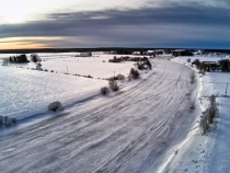 Aerial View Of The Icy River