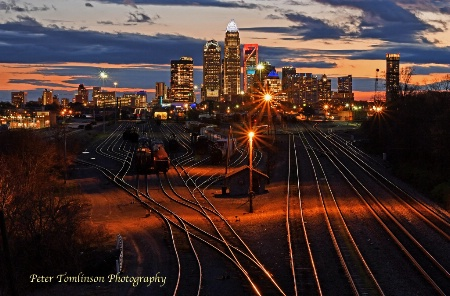 Charlotte skyline at dusk, North Carolina