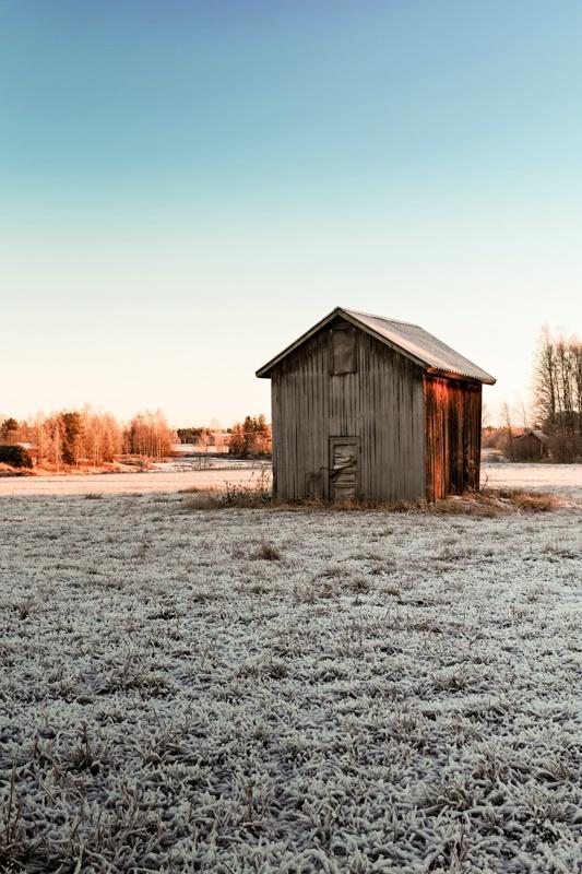 Tiny Barn House On The Frosty Fields